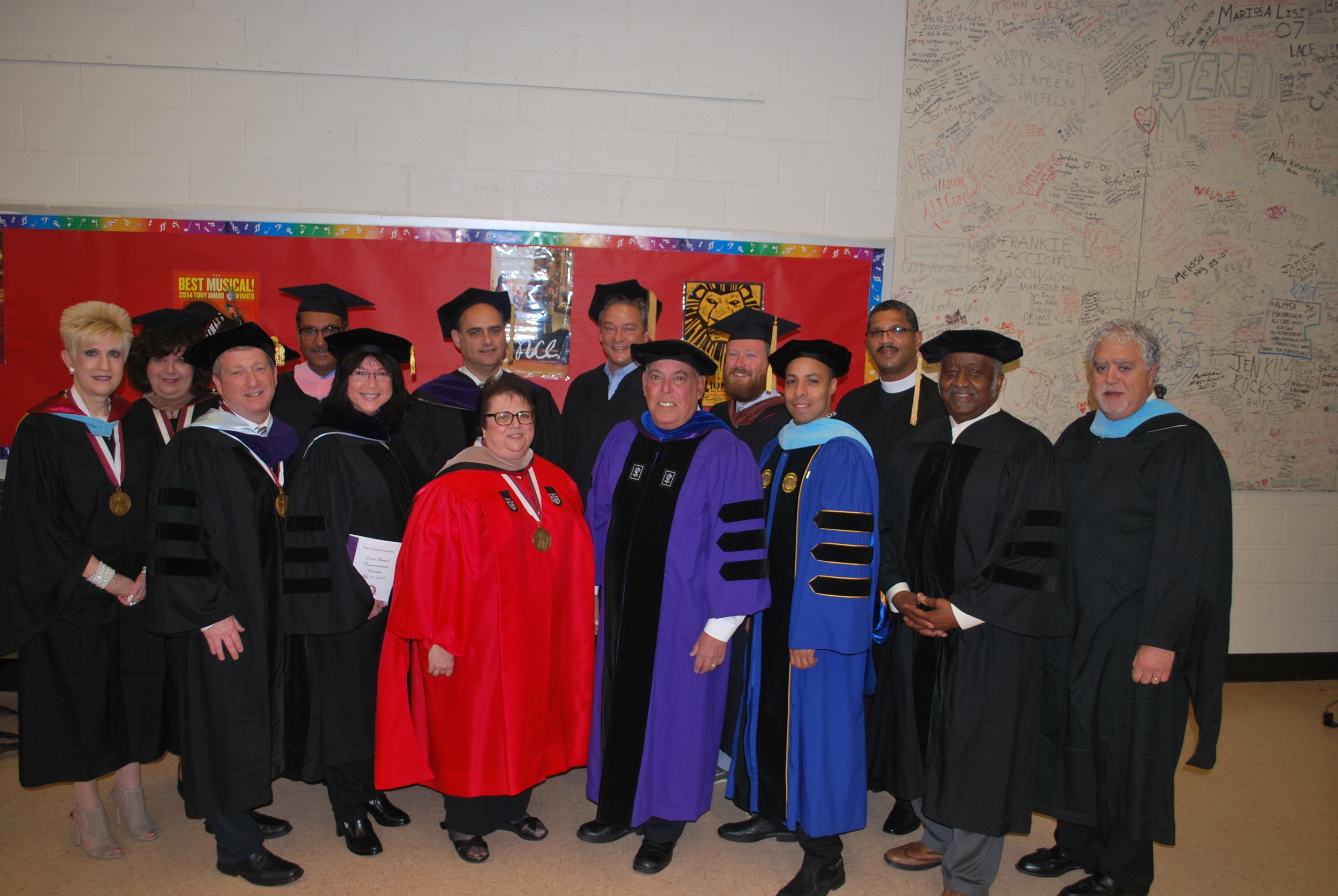 The Five Towns College Board of Trustees and dignitaries.