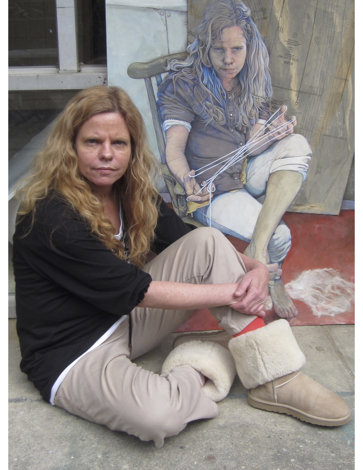 "Margaret Minardi, inset, a Northport High School art teacher, recently won best in show honors for artwork, ""Control,"" above."