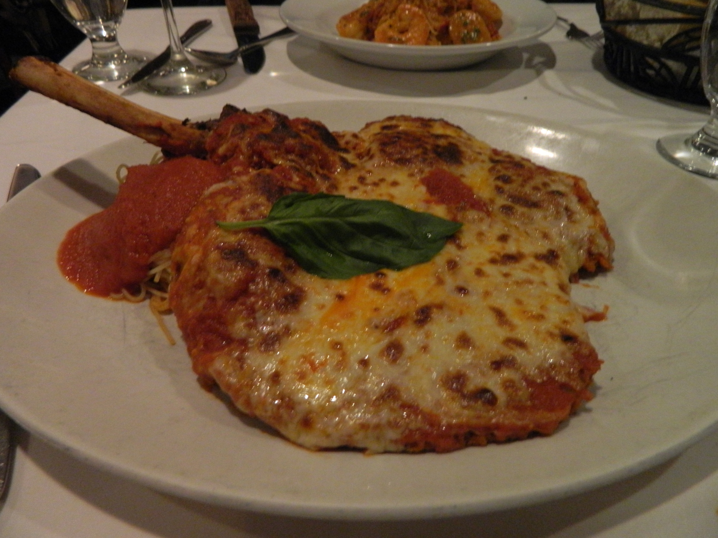 The Costoletta Di Vitello Alla Parmigiana (pounded veal chop) is available on the lunch menu at Cirella's in Melville.