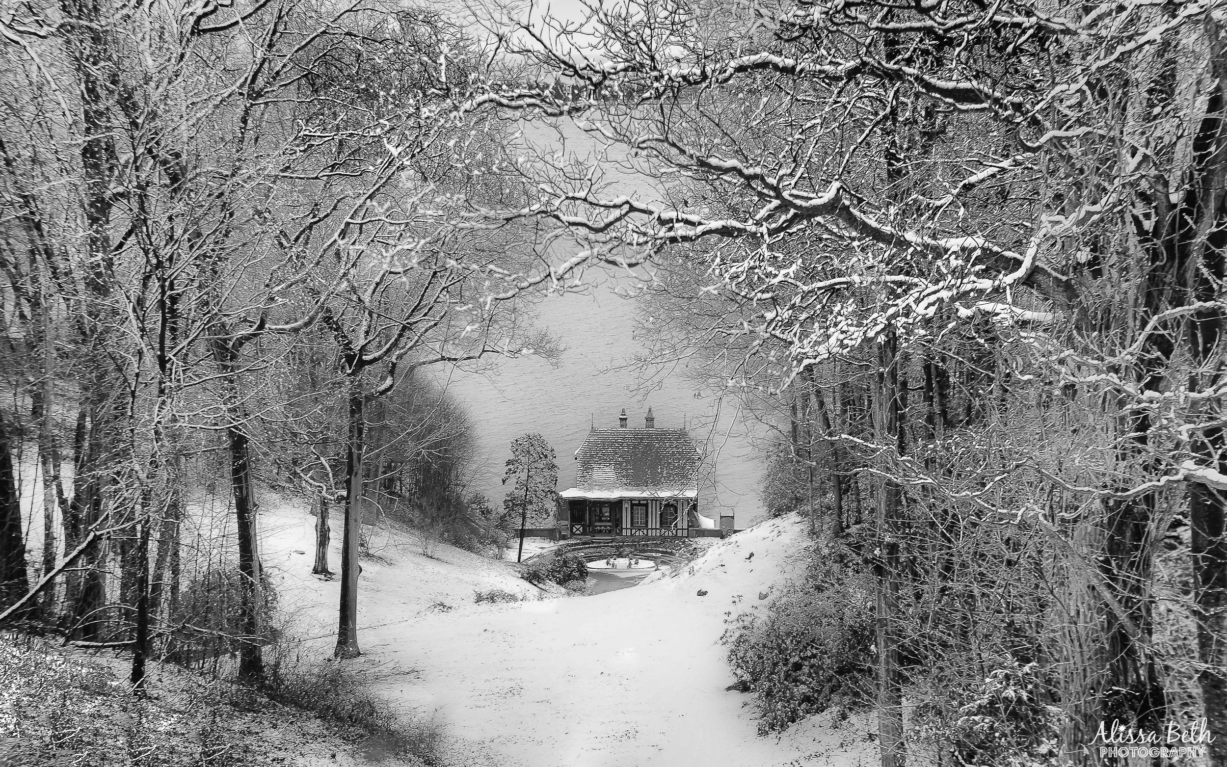 """""""A Winter's Tale,"""" by Alissa Rosenberg, of Commack, overlooks a scenic view of the Vanderbilt Museum boathouse in Centerport during a snowstorm."""