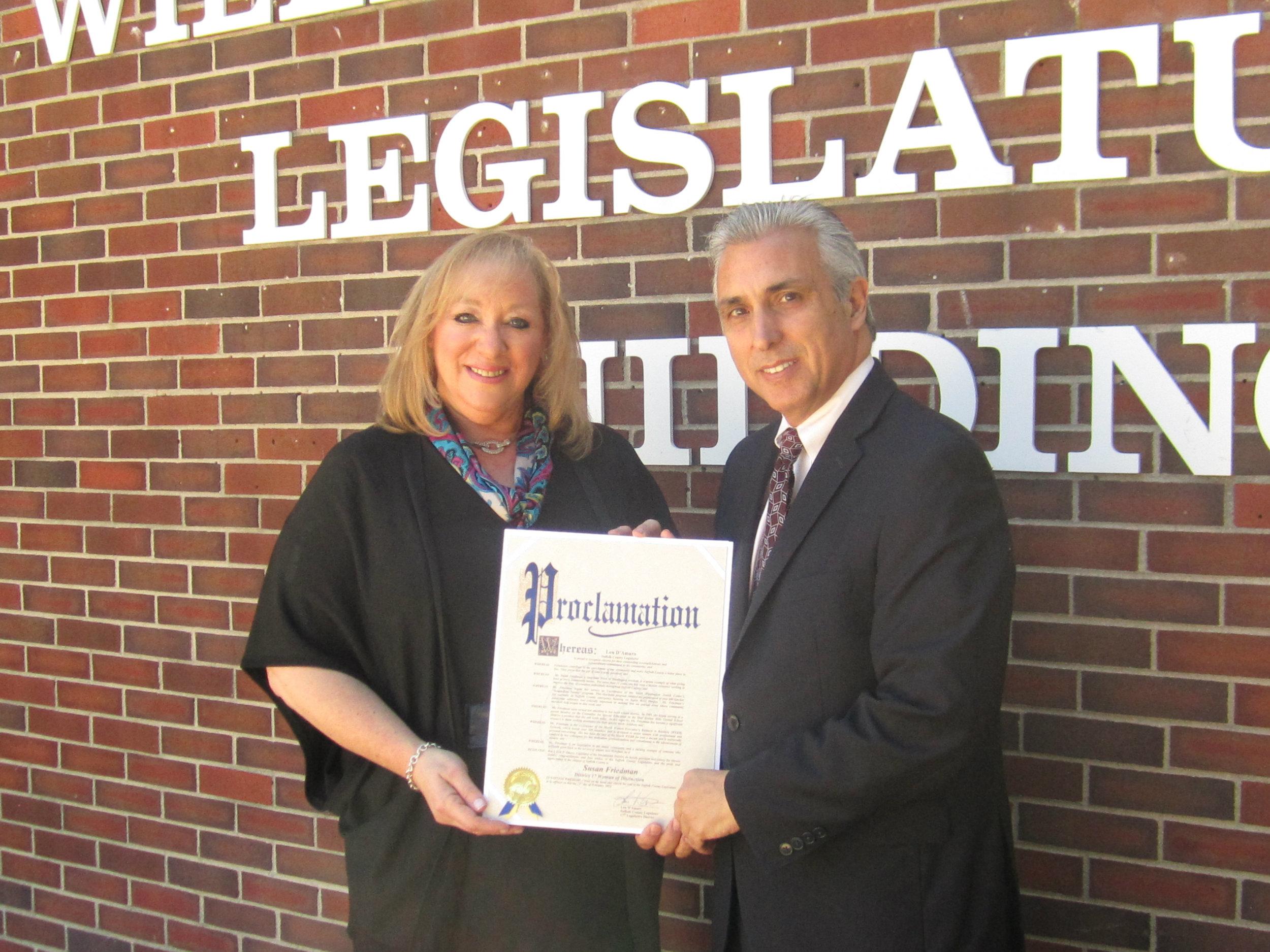 Suffolk   County Legislator Lou D'Amaro (D-Huntington Station) has selected longtime Dix Hills resident Susan Friedman as the 2016 woman of distinction for Suffolk's 17th legislative district. Photo courtesy of Legislator Lou D'Amaro's offic e