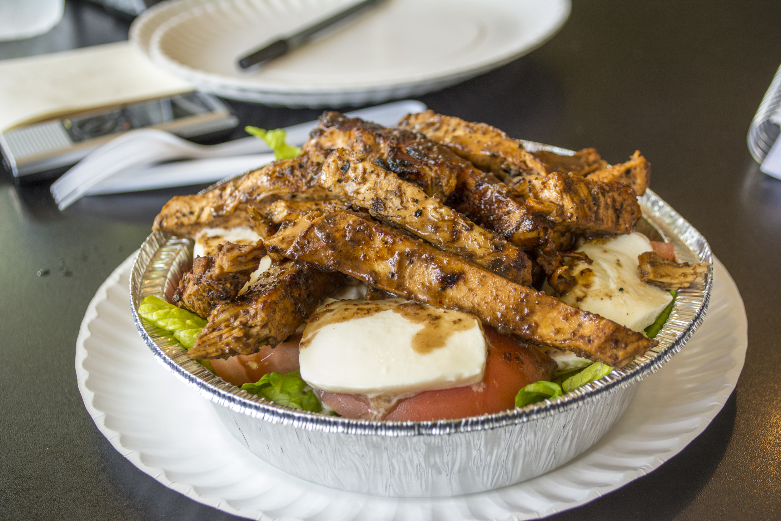 The grilled chicken, which can be added atop any of the salads at Jonny D's, is specially marinated in family recipe, giving it a smoky flavor, and making it a hit with customers.