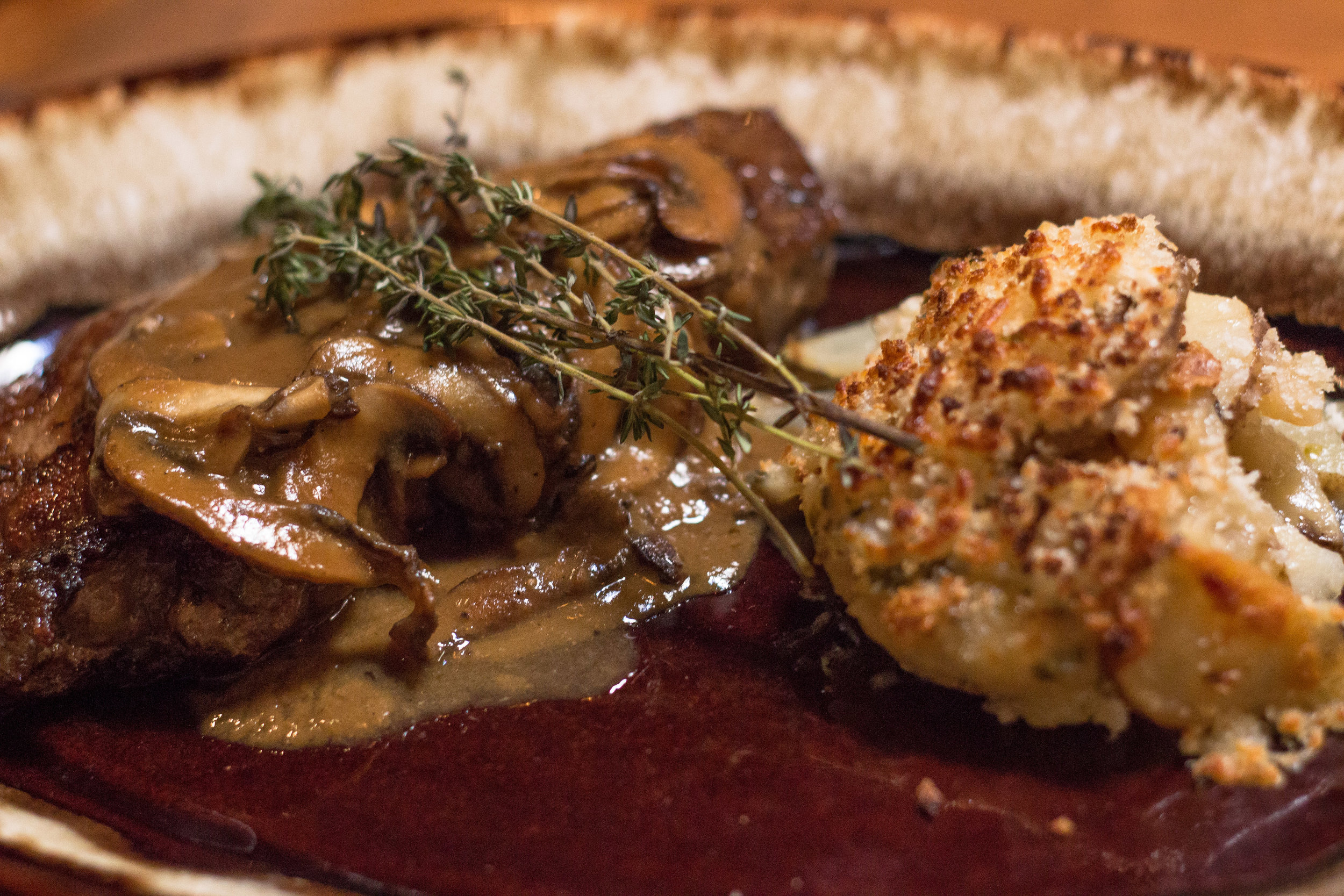 The Grass-Fed Strip Steak Diane elevates a classic dish, pairing it with boulangère potatoes that add a bit of spicy zest that will excite the taste buds.