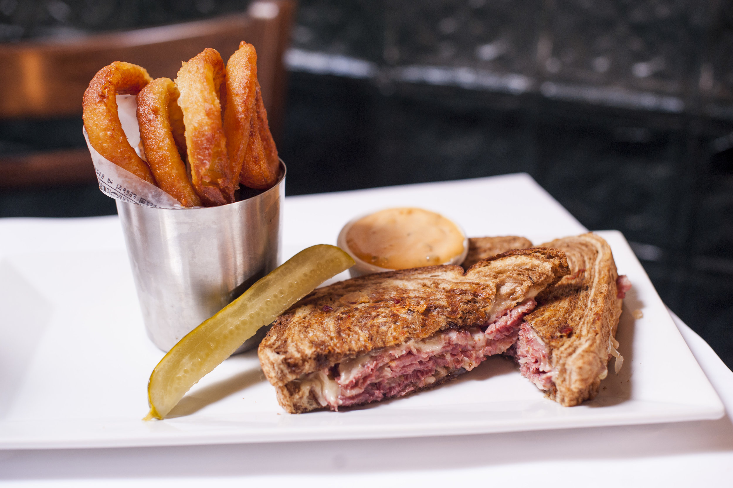 The Corned Beef Reuben delivers a complex blend of tastes that combine tangy, savory and sweet undertones, wrapped together in a marbled rye