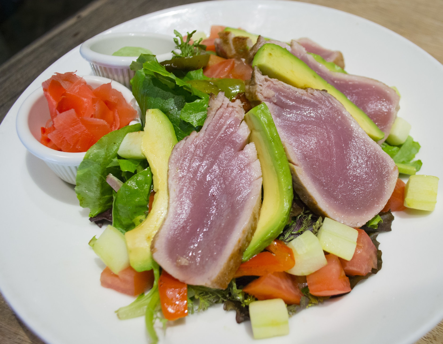 Long Islander News photo/Andrew Wroblewski  he Ahi Tuna Salad is one of several entree options on both the brunch and lunch $23 price-fixe menus at Mac's Steakhouse in Huntington village.