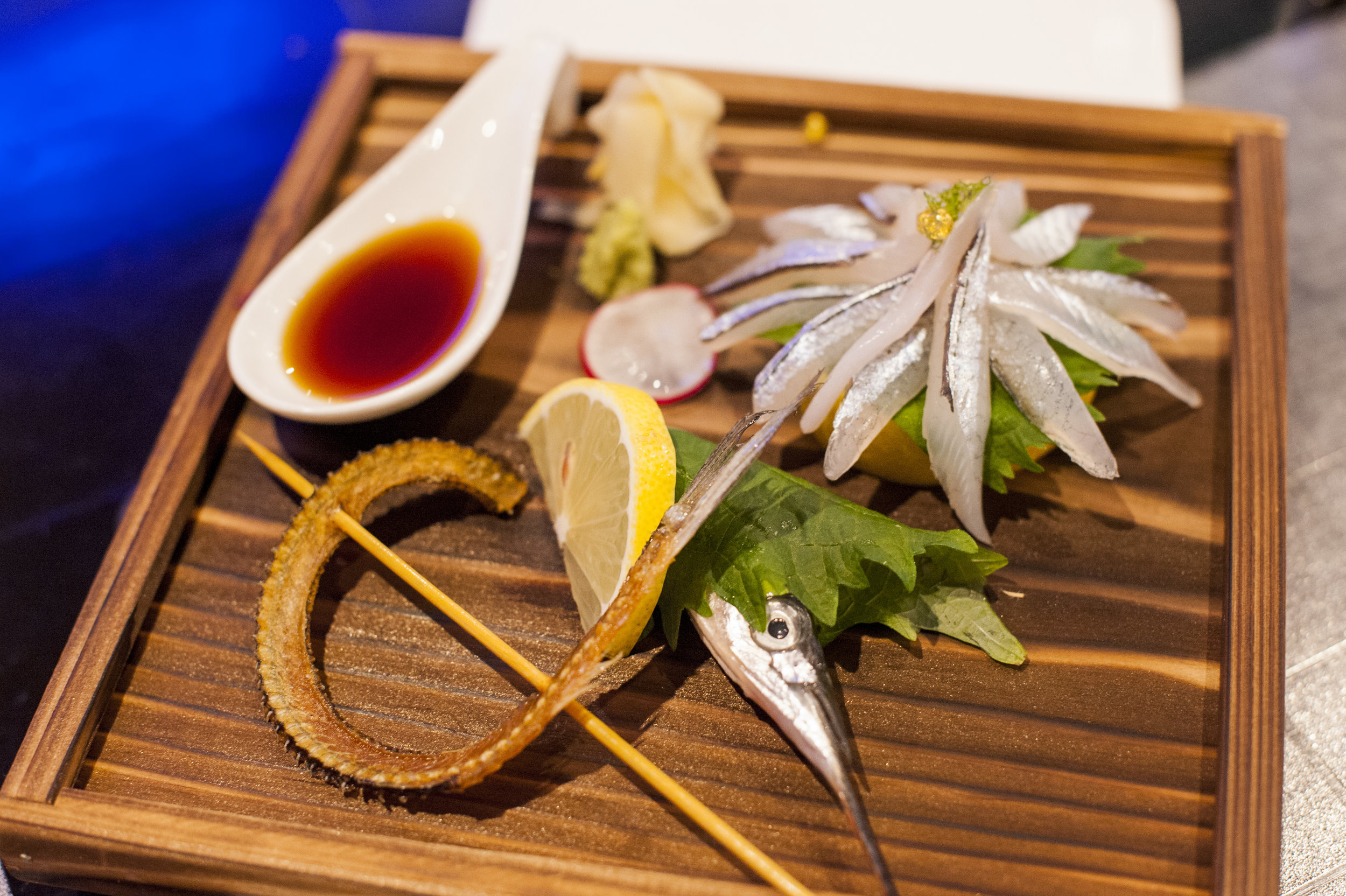 110 Japan's Sayori Sashimi is a marvel to behold and balances tender and savory Sayori slices, with the fish's spine deep fried and served as a crunchy complement.