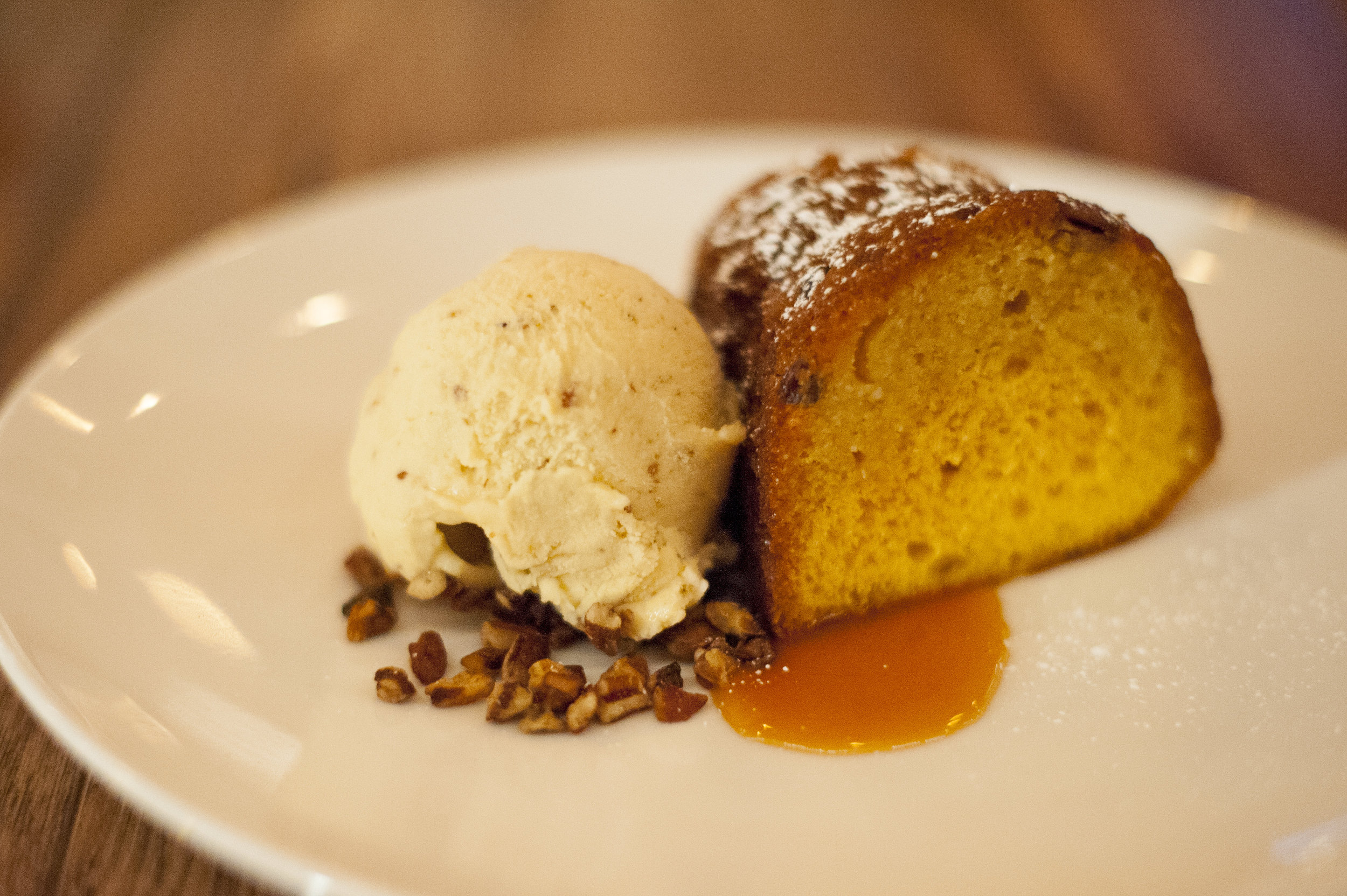 Crabtrees' Monkey Rum Cake doesn't hold back on the sweetness, but is balanced by the vanilla gelato and bits of pecan for a rich, textured experience.