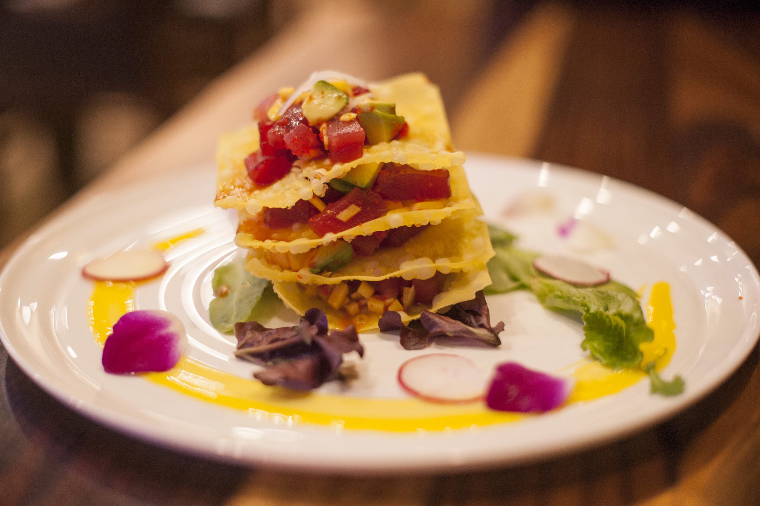 The Tuna Tower at Zaza Japan blends together multitudes of flavor stacked on top of each other.