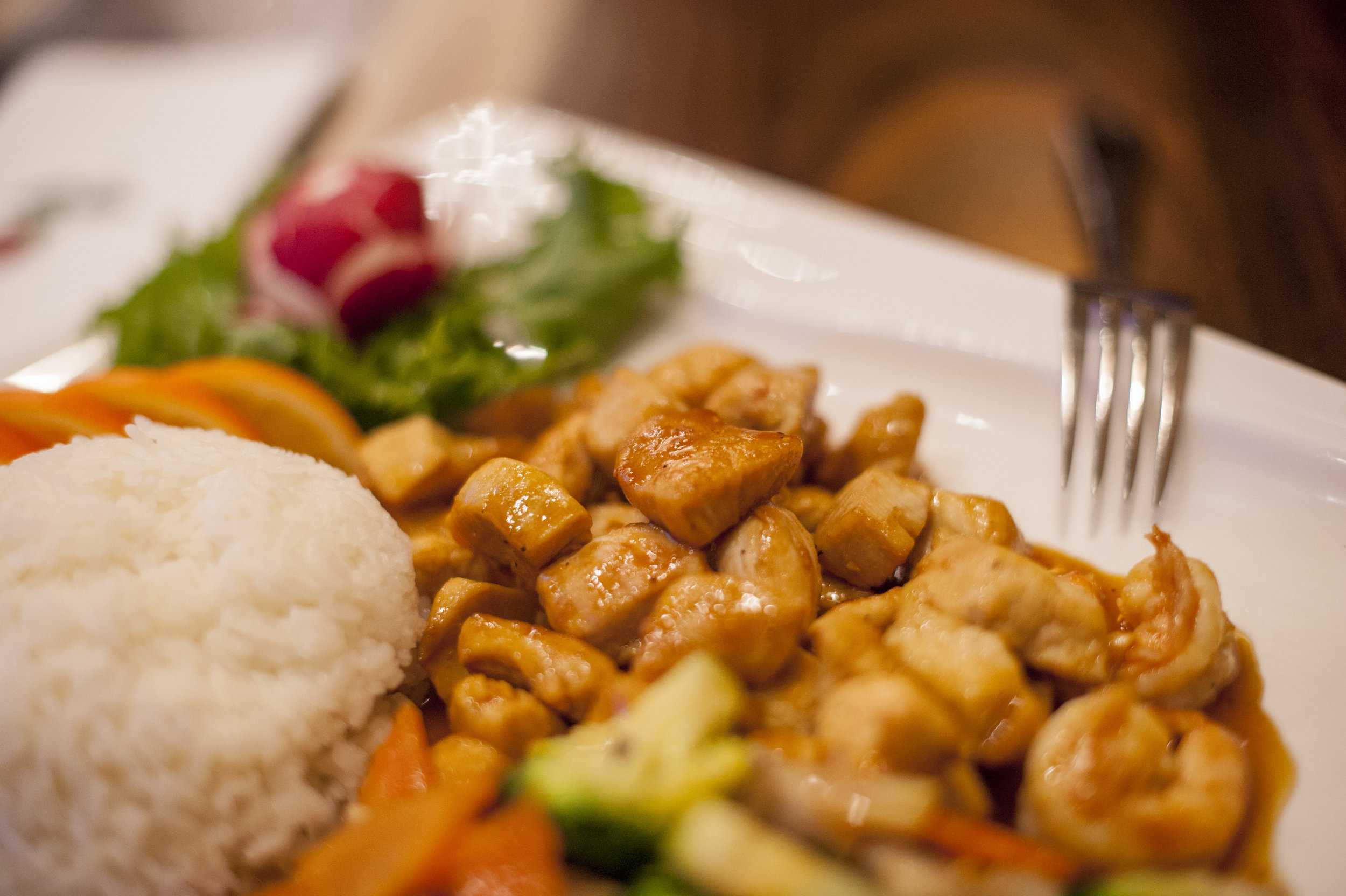 The Hibachi Chicken at Zaza Japan features a hearty mix of chicken with zucchini, carrots, mushrooms and broccoli that is as delicious to eat as its preparation is exciting to behold.