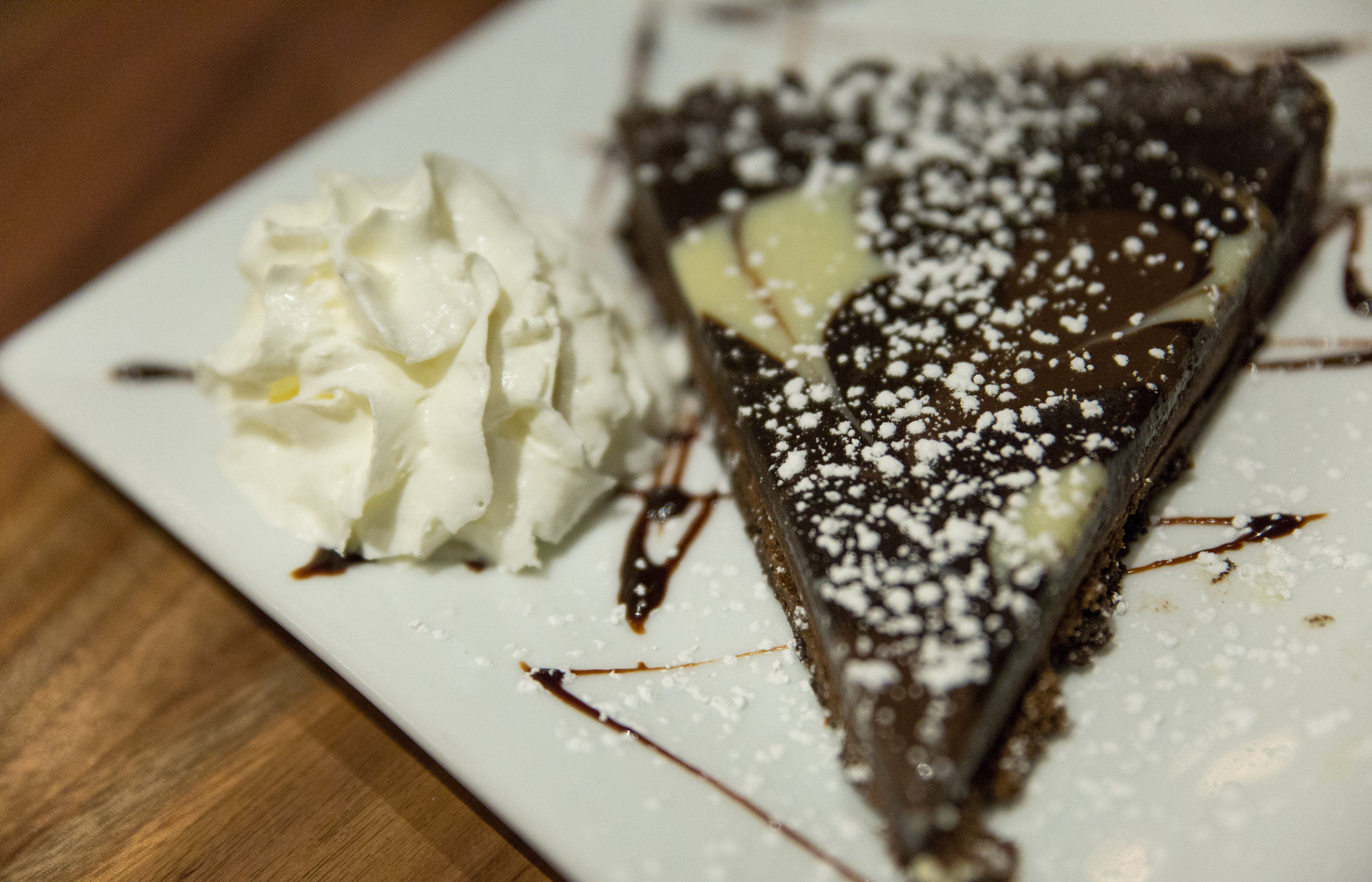 The Chocolate Polenta Cake is flourless and mixes up white, dark and milk chocolate on a polenta crust to satisfy chocolate lovers of all kinds.