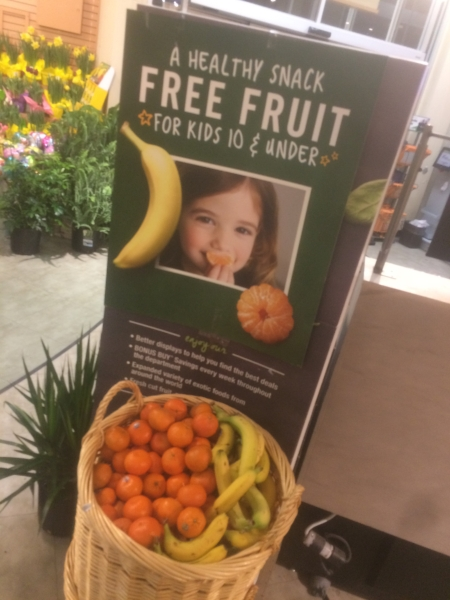 Free, fresh fruit was available for kids ages 10 and under at the Huntington Stop and Shop last week.