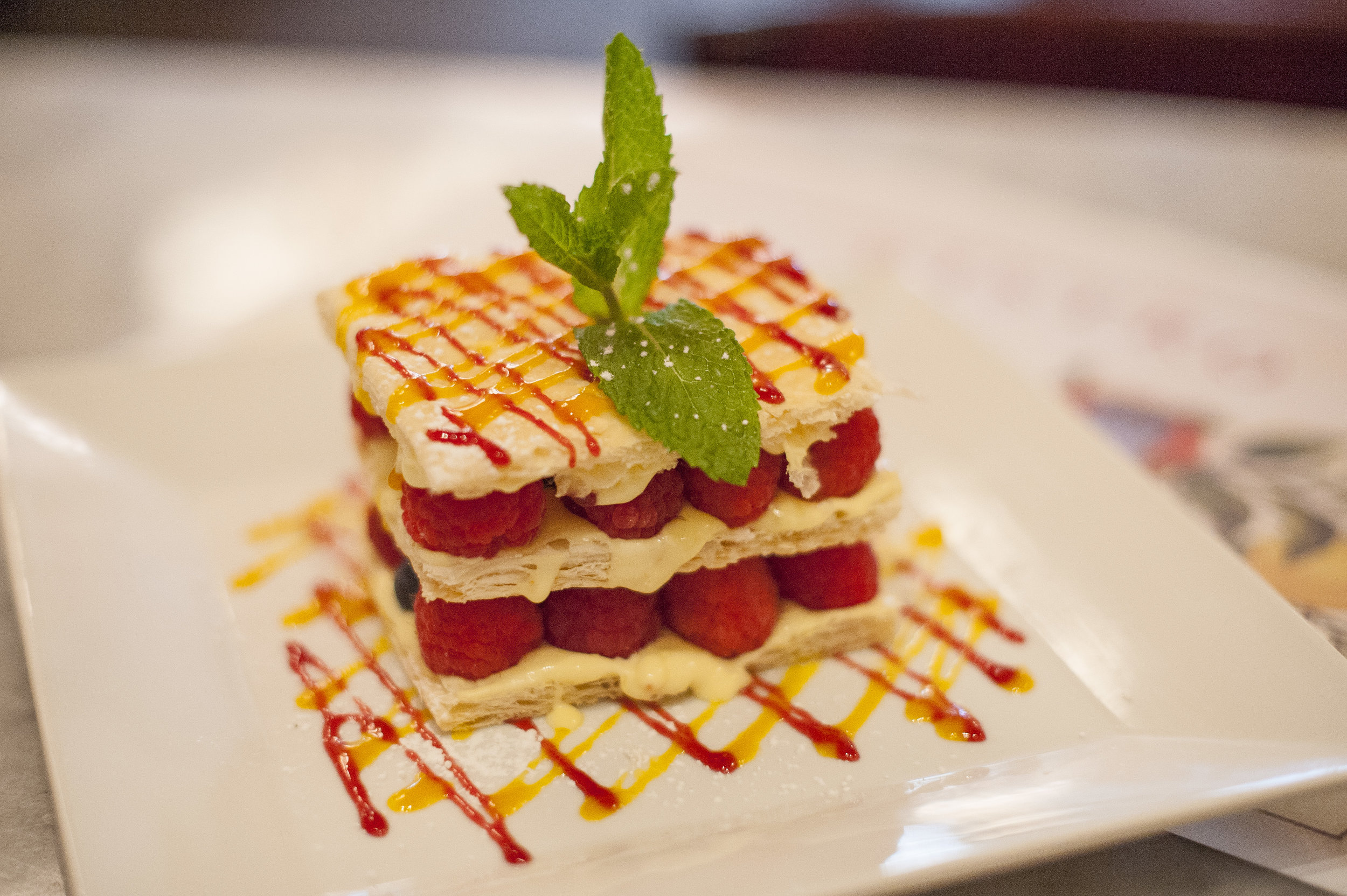 The Mille-Feuille ($12) layers tantalizing mixed fresh fruit with mascarpone cream in a delicately flaky puffed pastry.