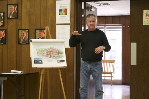 Long Islander News photo/Janee Law  Kevin J. O'Neill, co-owner and managing director of the John W. Engeman Theater, presenting the tentative parking plan for a proposed three-story Inn to be built on Main Street in Northport Village.