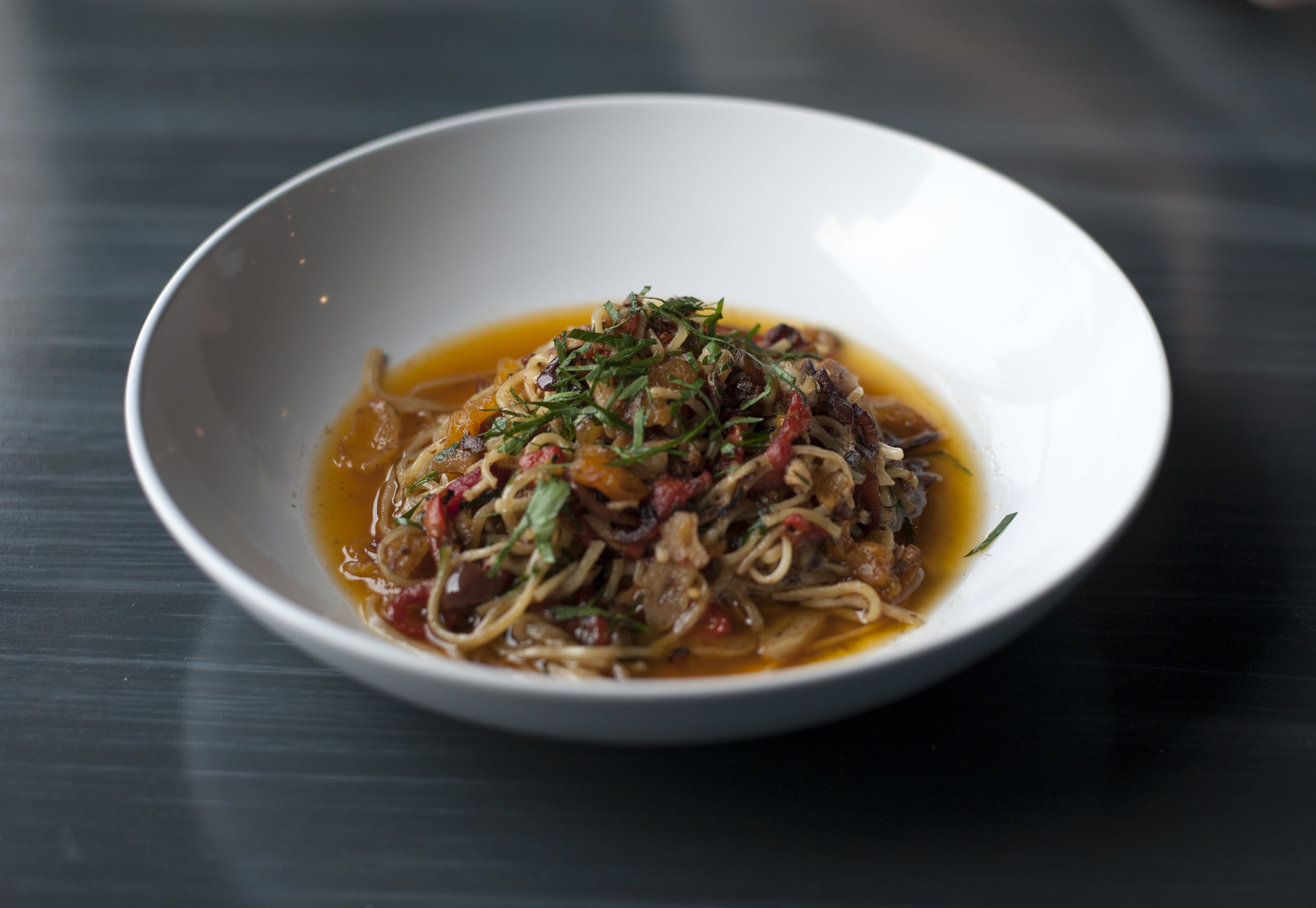 La Bamba showcases homemade linguine with fire-roasted red peppers, Kalamata olives, sardines and dried apricots, stepped in an olive oil and white wine sauce, for an entree that stacks bold taste for a comprehensively satisfying meal.