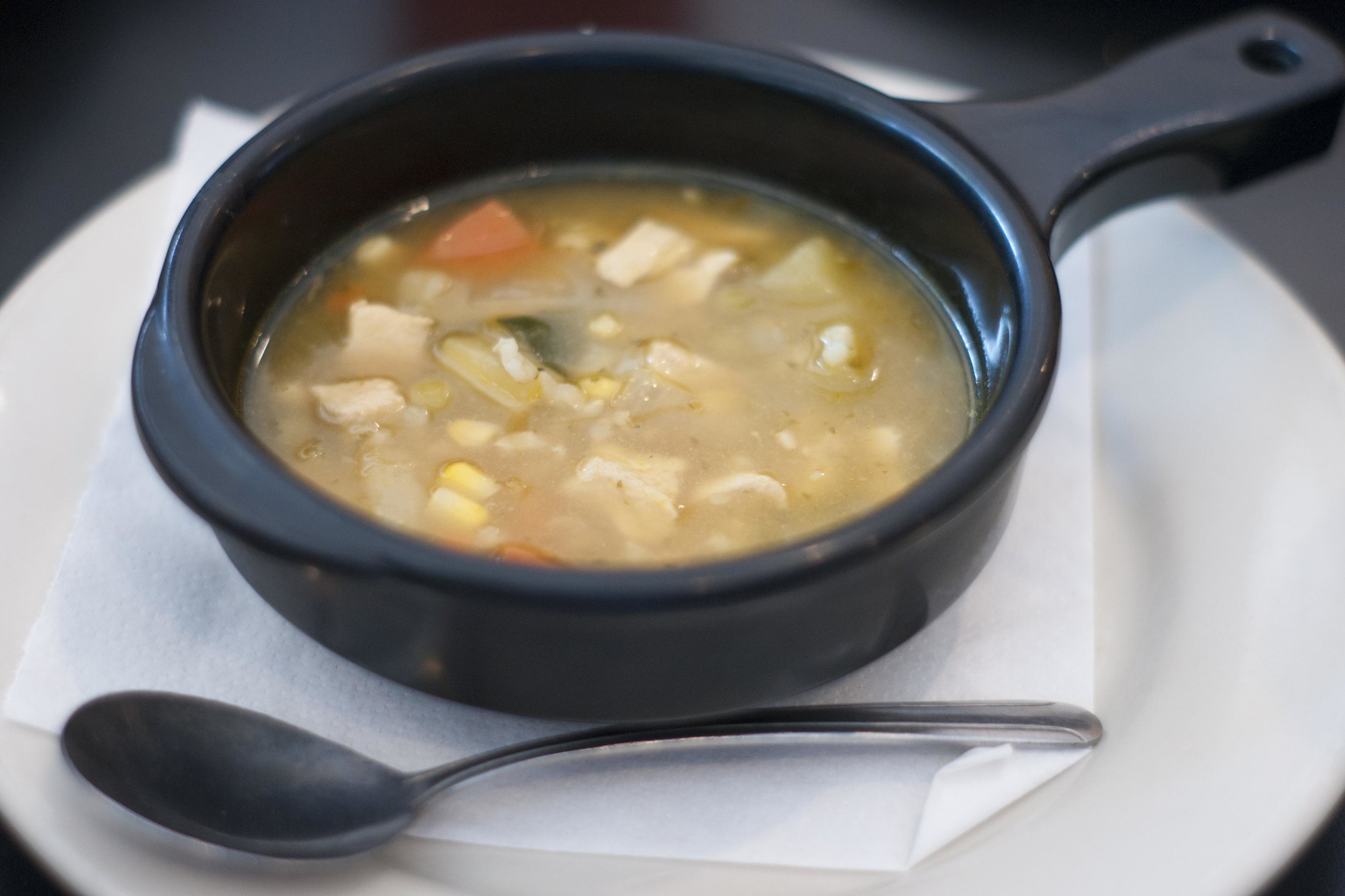 Batata's chicken vegetable with brown rice soup is $4.95 for a 12-ounce and $6.45 for a 16-ounce.