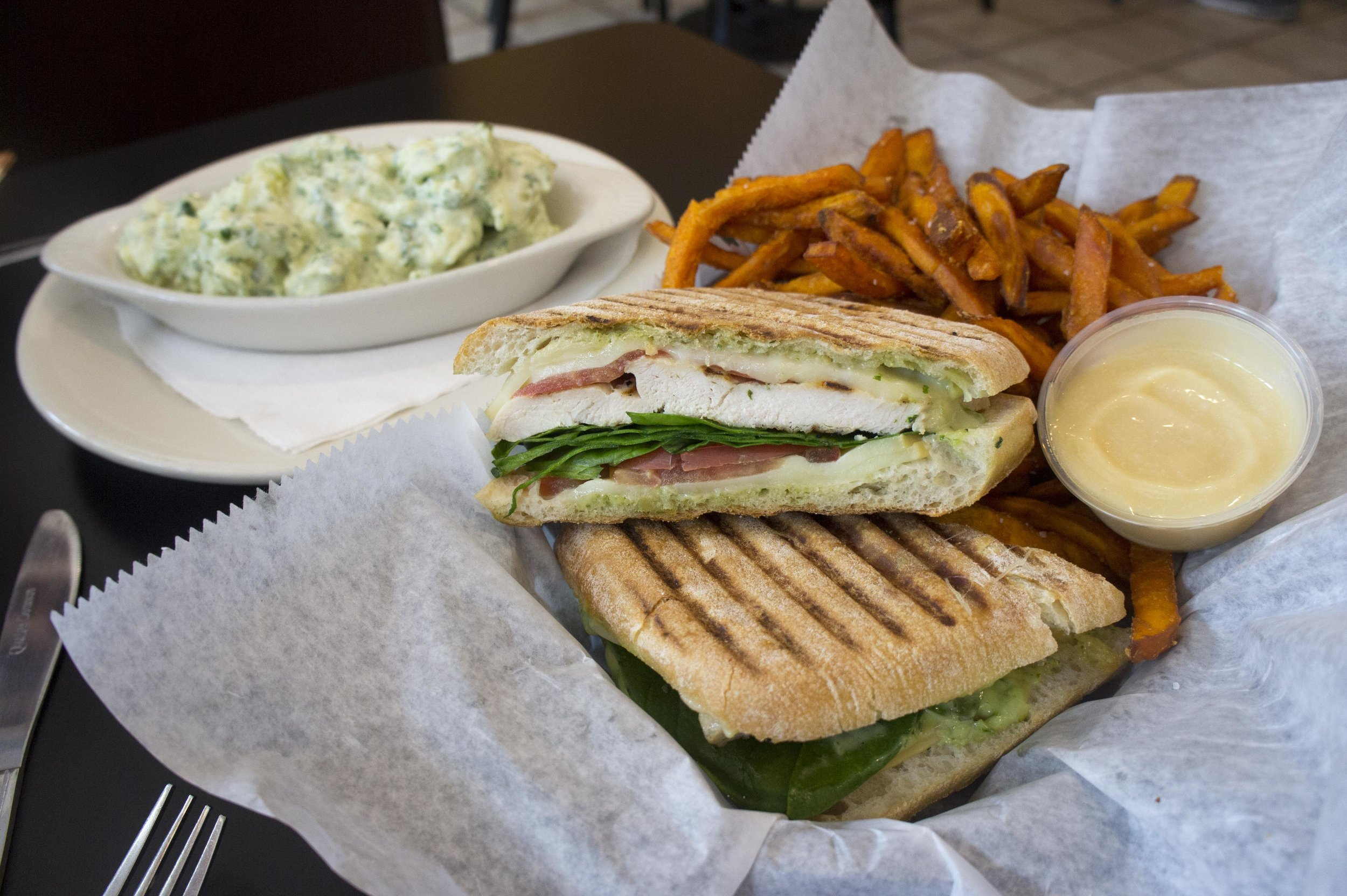 The Mobster Panini ($8.95), with grilled chicken breast, smoked mozzarella, fresh baby spinach, tomato and basil pesto mayo, offers a crunchy bite, with a soft and juicy center.