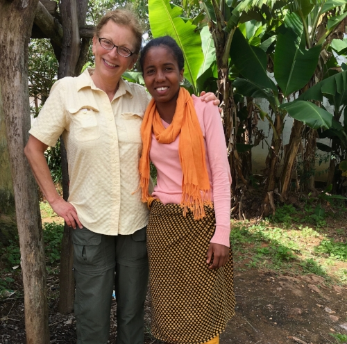Photo provided by Diane Powers  Diane Powers, left, president and founder of Madaworks, pictured with Julie Rakotozafy, the first girl that Madaworks provided scholarship funding, during her recent visit to Madagascar.