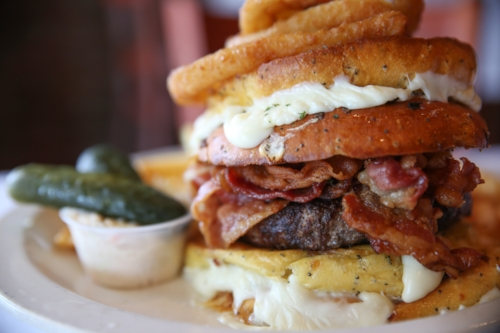 Long Islander News photo/archives  The bacon belly buster burger at Christopher's in Huntington village is one of our Foodies' favorites.