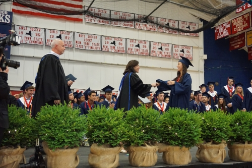 One-by-one, graduates crossed the stage during the Cold Spring Harbor 2017 graduation ceremony to receive their diplomas.