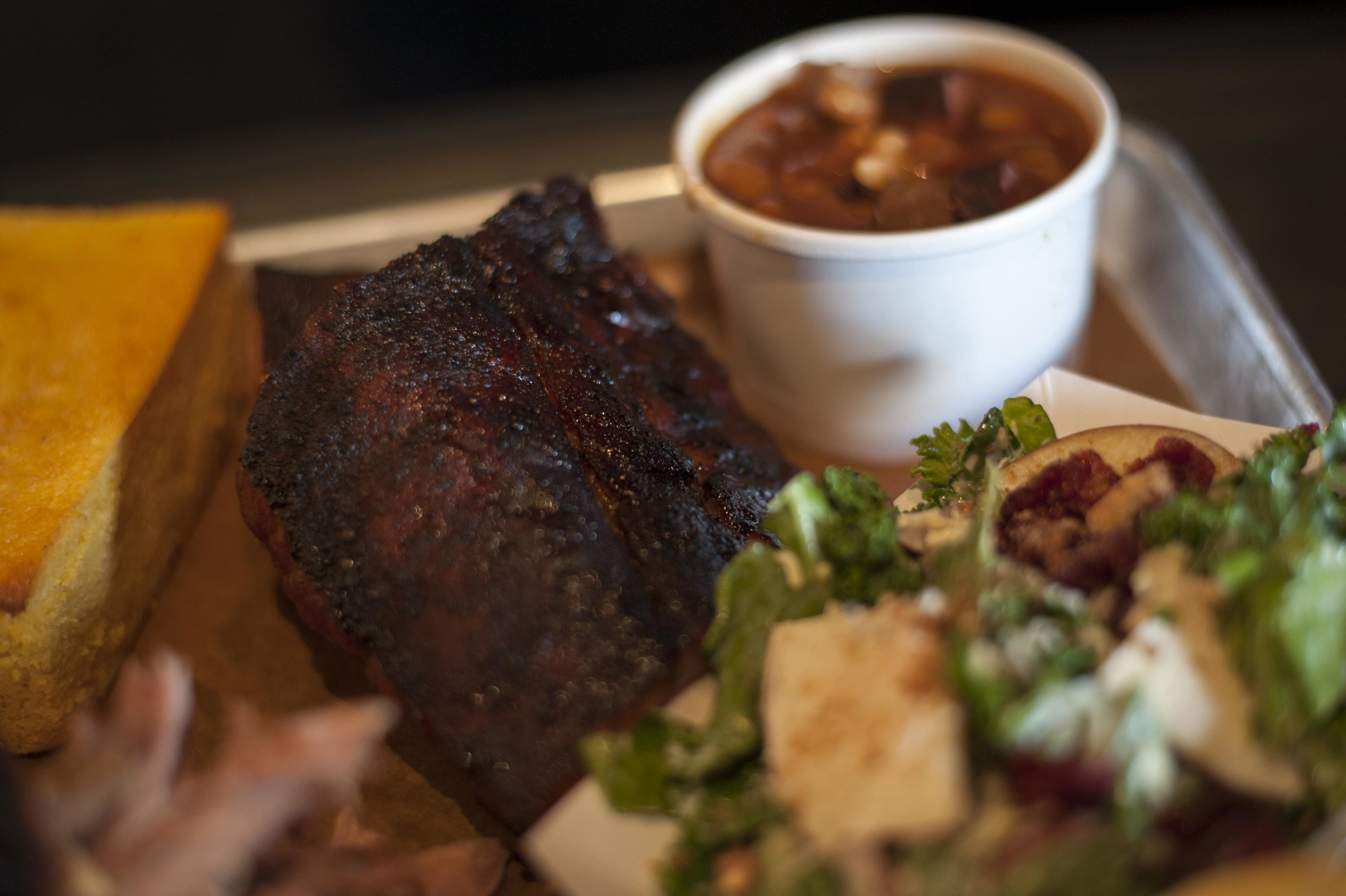Long Islander News photos/David Weber  The Baby Back Ribs at Old Fields BBQ fall off the bone with just a gentle bite, and have a great, smoky flavor.