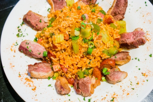 The Fire and Rice Jambalaya is served with either chicken, shrimp, crawfish or duck, and blends rice with Cajun onion, green peppers and celery.