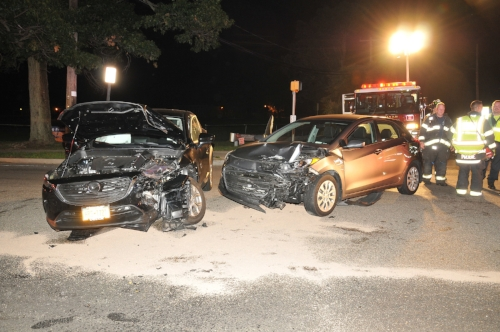 Wreckage from the Saturday night crash in Dix Hills that injured three people.   Photo by Steve Silverman