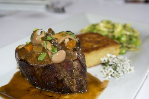 The prime Filet Mignon ($48) at Oheka Bar & Restuarant comes with potato and goat cheese rosti, brussel sprouts and wild mushroom ragu.   Long Islander News photo/Barbara Fiore