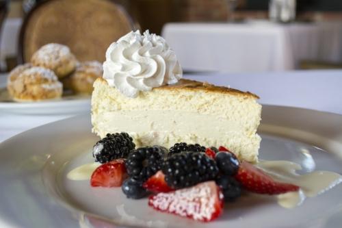Cheesecake ($12) comes with fresh strawberries, blueberries and strawberries, berry compote, and crème anglaise.   Long Islander News photo/Barbara Fiore