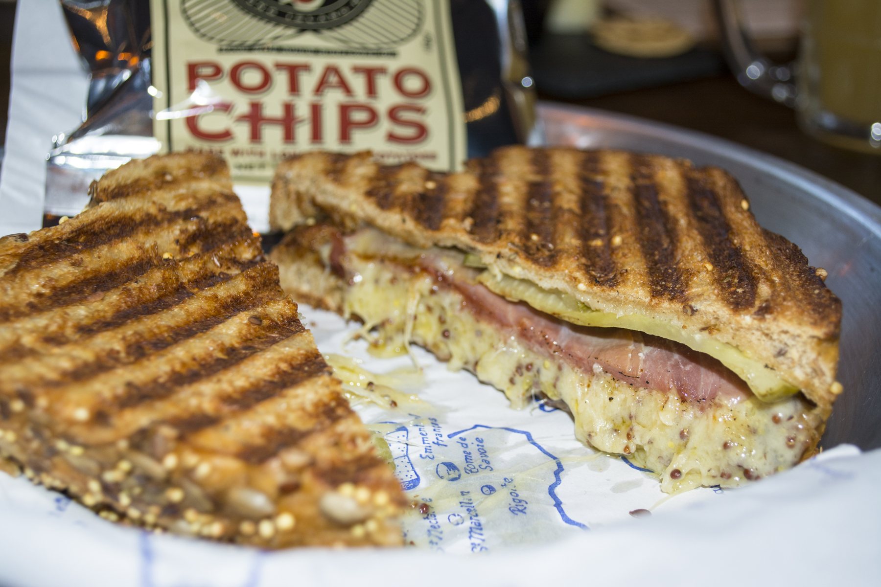 The Brew Cheese Cubano ($10) is served with sliced prosciutto, spicy pickles, and Red Dragon Welsh Mustard Cheddar.   Long Islander News photos/Barbara Fiore