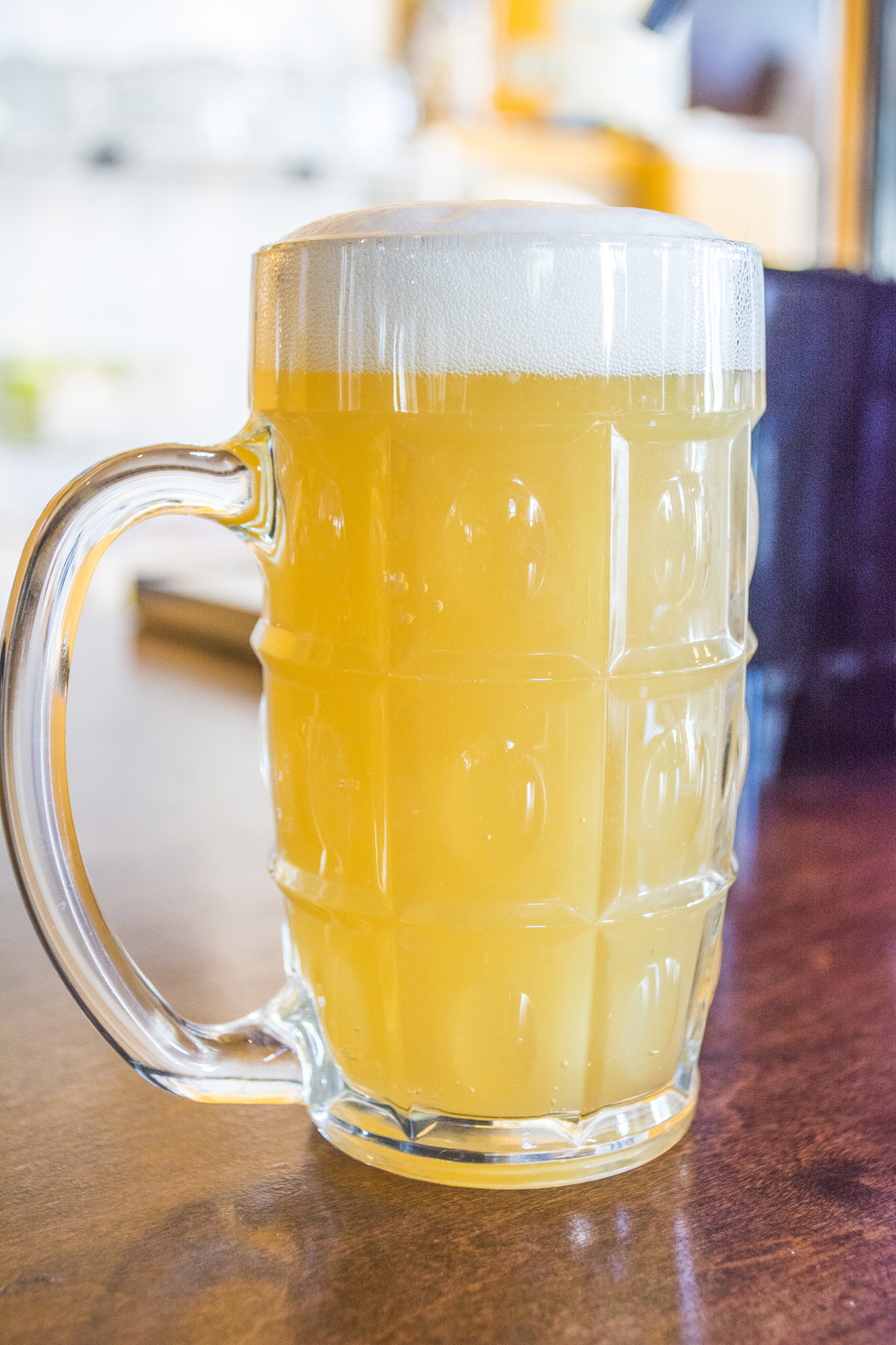 Brew Cheese serves beers brewed on Long Island, including the Close Talker ($6) by Northport-based Sand City Brewing Co.   Long Islander News photos/Barbara Fiore