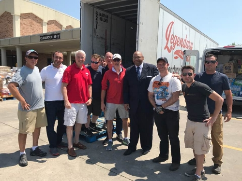 The team of local residents arrive at the Antioch Missionary Baptist Church in Beaumont, Texas, to unload trucks filled with supplies for Hurricane Harvey relief efforts.   Facebook/George Schwertl