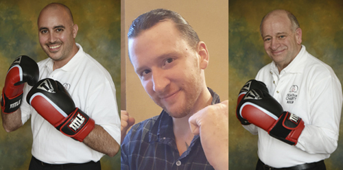 From left,   Eliud Custodio, John Kraft, and Gregg Aramanda will all take part in the 14th Long Island Fight for Charity on November 20.