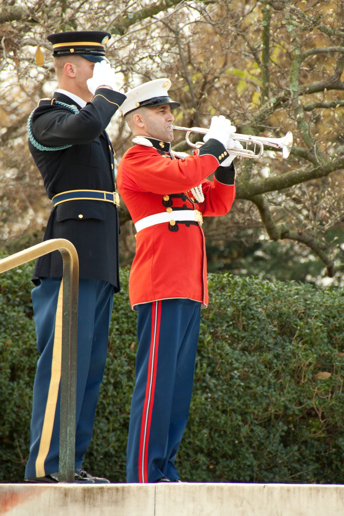 """Master Gunnery Sgt. John Abbracciamento, trumpeter and cornetist of """"The President's Own"""" U.S. Marine Band, said he's' looking forward to next month's performance in Dix Hills.   Photo Courtesy of U.S. Marine Band Public Affairs"""