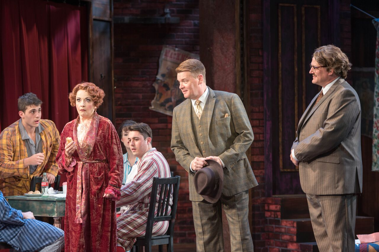 """Michele Ragusa (as Rose), John Scherer (as Herbie), Todd Fenstermaker (as Mr. Goldstone) and cast members of John W. Engeman Theater's production of """"Gypsy.""""   Photo by Michael DeCristofaro"""