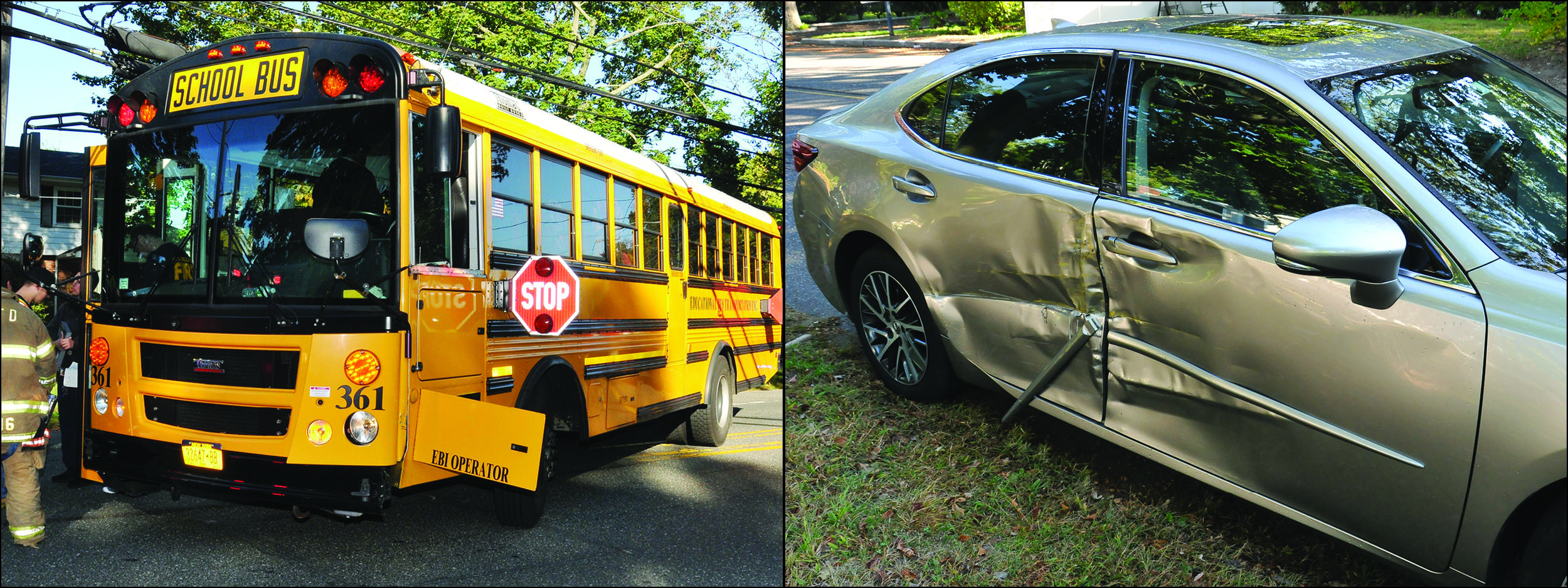 A Lexus, right, crashed into a Half Hollow Hills school bus, left, this morning, according to Suffolk police.   Photos by Steve Silverman