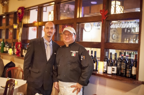 Frank Morello, left, general manager of Milito's in Huntington Station, and owner and head chef Emilio Valle have a $30 prix fixe menu available for Fall Dine Huntington Restaurant Week.   Long Islander News Photo/Archives