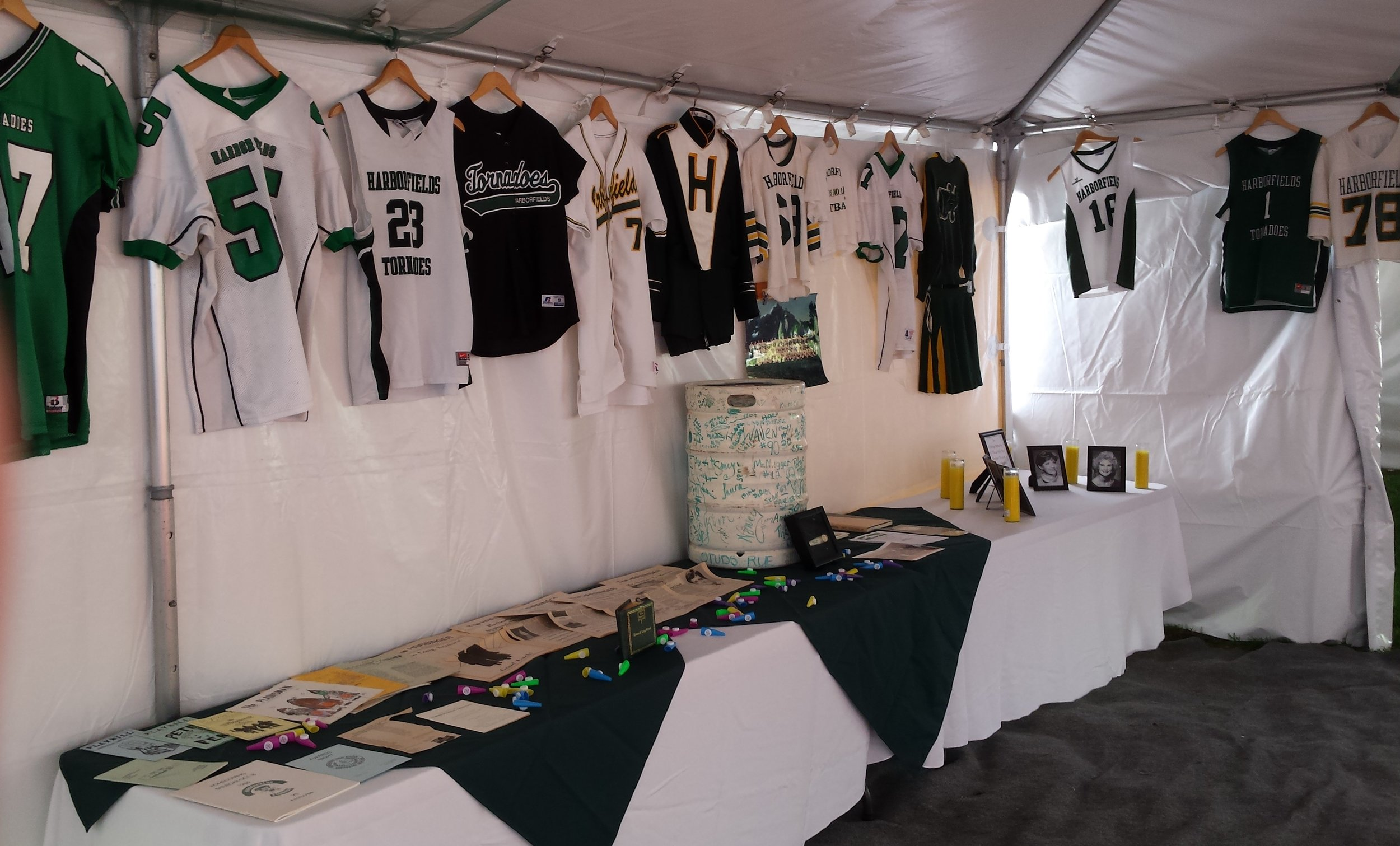 The Harborfields High School Class of 1987 hung several mementos during its 30th reunion.   Photo Courtesy of John Tilden