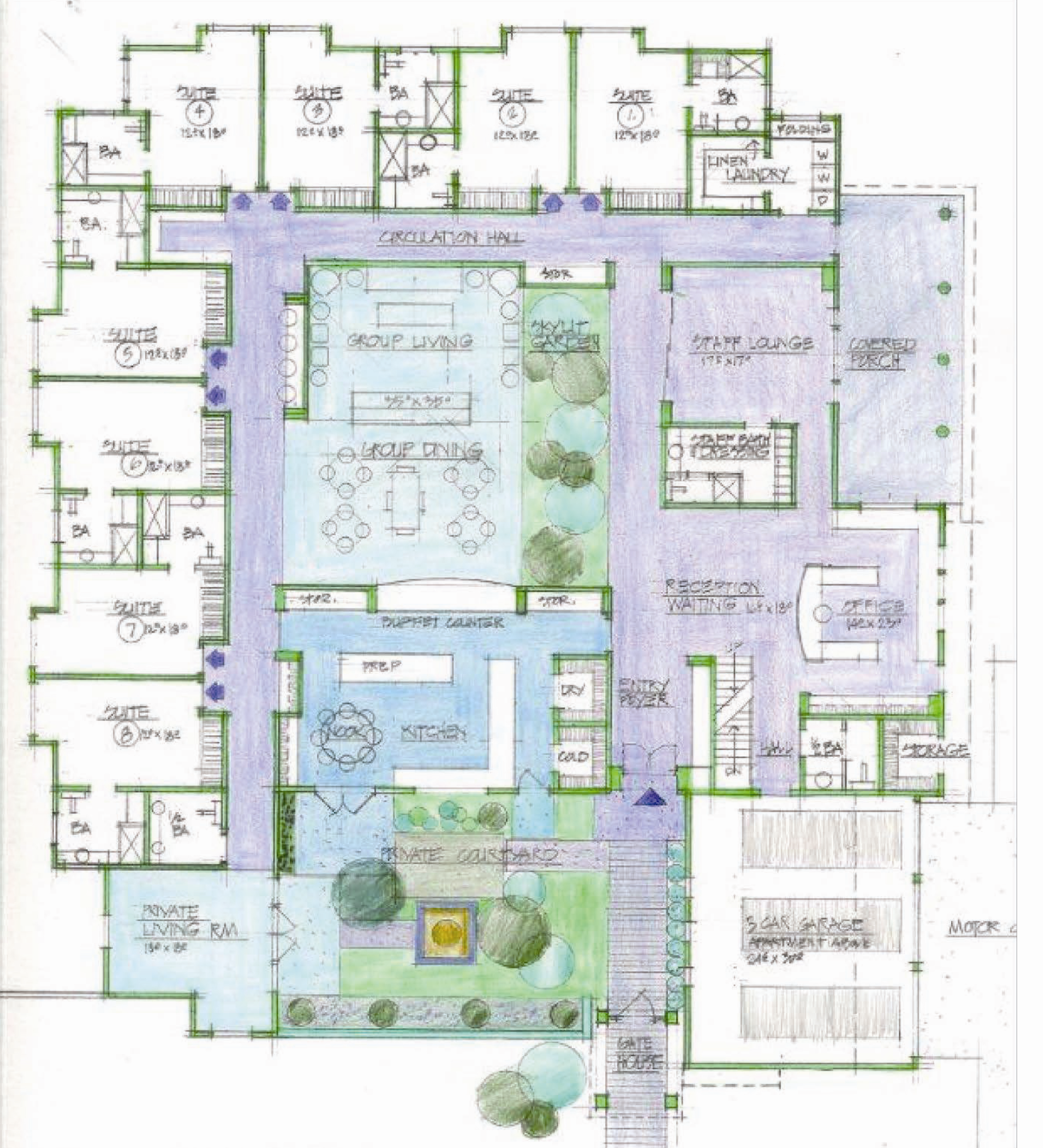 The proposed floorplan of the congregate care facility in Greenlawn would house eight individuals with physical or developmental disabilities.