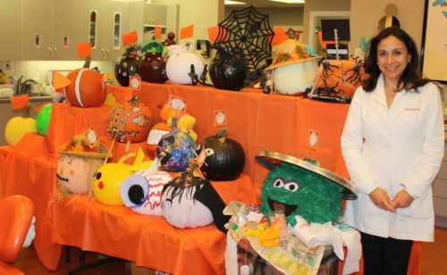 Dr. Inna Gellerman, owner of Gellerman Orthodontics, launched the Pumpkin Decorating Contest eight years ago, and said it has grown every year since.   Photo by Shari Peyser
