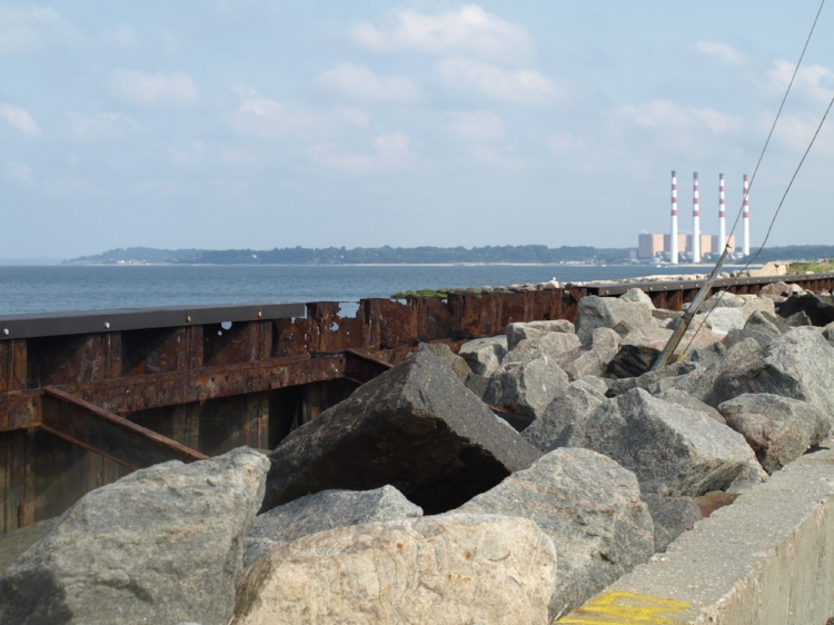 Years of erosion and rust have caused serious damage to the Asharoken seawall at the north end of Asharoken Avenue.   Long Islander News Photo/Connor Beach