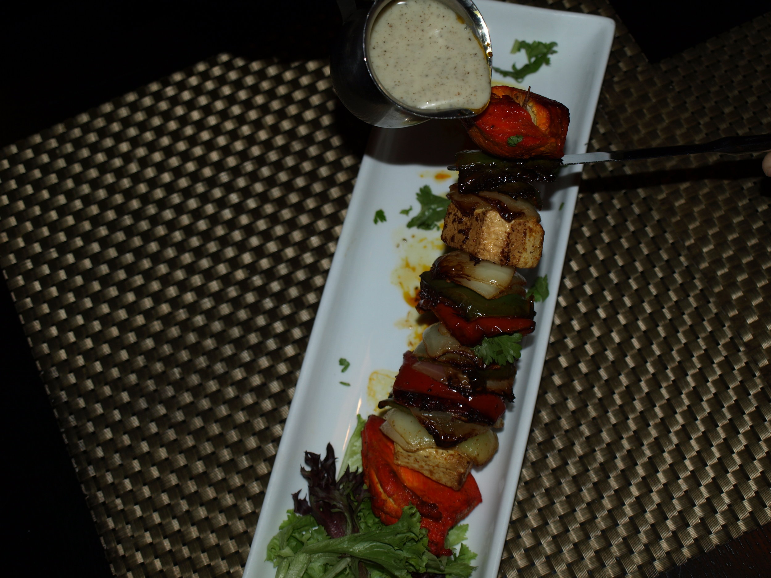 The Plates Shish is a kebab that includes a choice of chicken, shrimp or salmon with bell peppers, onion and paneer cheese.   Long Islander News Photo/Connor Beach