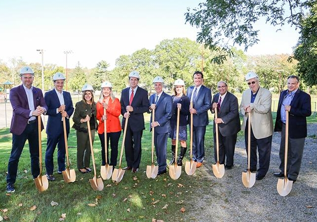Representatives from the YMCA of Long Island, Huntington Supervisor Frank Petrone, third from right, and New York State officials broke ground on Oct. 20 to build a Healthy Living Center at the Huntington YMCA location.   Photo Courtesy of YMCA of Long Island