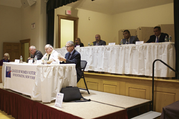 """Candidates for positions in the Suffolk Legislature are pictured, front row, from left: Thomas Donnelly; Robert Schuon and Michael Troetti; and back row, from left: Susan Berland; Hector Gavilla; William """"Doc"""" Spencer; and Dominic Spada.   Long Islander News Photo/Janee Law"""