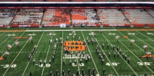 "The   Huntington Blue Devils Marching Band performs ""Americana"" at the state championships in Syracuse University's Carrier Dome on Oct. 27.   Photo by Brian Stellato"