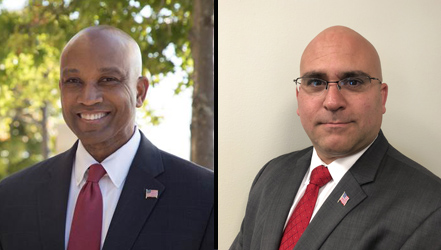 Suffolk County Sheriff Democratic candidate Errol Toulon Jr., left, holds a 1,354-vote lead over Republican candidate Lawrence Zacarese, right, according to unofficial Suffolk BOE results. The race was too close to call as of deadline Wednesday.