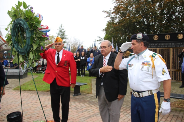 The Town of Huntington hosted its annual Veterans Day ceremony at Town Hall on Sunday, Nov. 5. This year's ceremony included the placing of a wreath in memory of the 100th anniversary of the U.S. entering into World War I and a moment of silence for Alice Early Fay, a longtime member of the town's Veterans Advisory Board, who died that Friday at age 94.