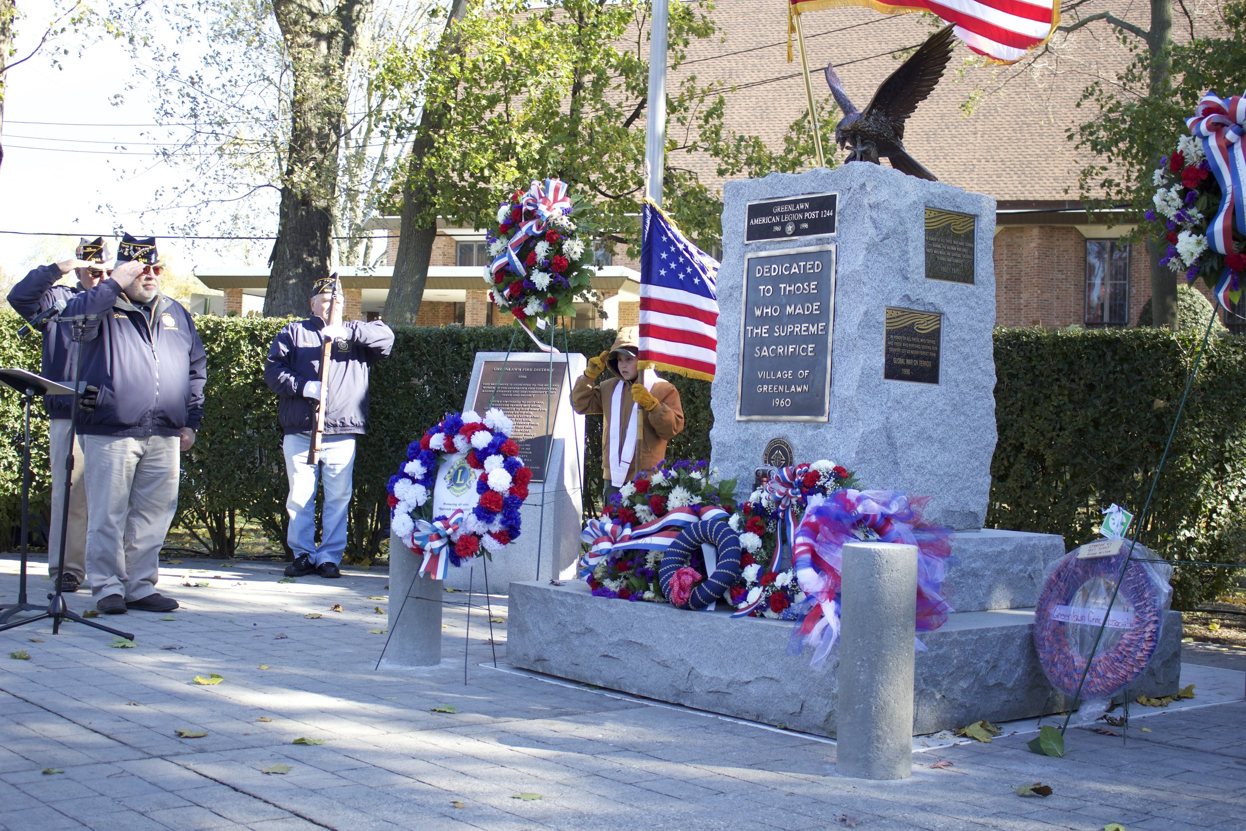 The monument at Greenlawn Memorial Park was adorned with wreaths for the annual Veterans Day Ceremony in memory of the men and women from all conflicts who lost their lives.   Long Islander News Photo/Janee Law