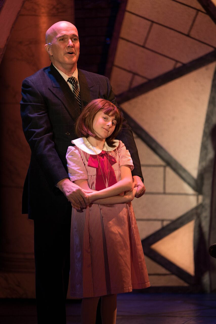 The relationship between George Dvorsky (as Oliver Warbucks) and Presley Ryan (as Annie) is captivating.   Photo by Michael DeCristofaro