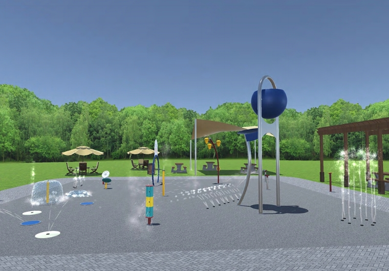 Town of Huntington officials approved a resolution to fund the Sgt. Paul Tuozzolo Memorial Spray Park, which is depicted in the above rendering.