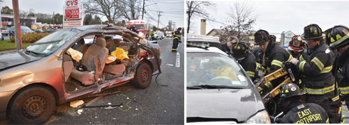 Firefighters work to free a victim trapped in a car, right, after a crash in East Northport on Saturday.   Photos by Laura Riccio